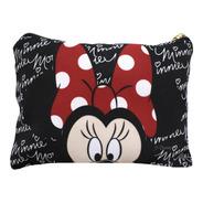 Necessaire Preto Assinatura Rosto Minnie - Disney Algodão
