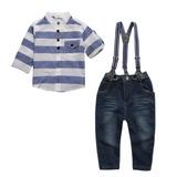 Conjunto Infantil Camisa Social Calça Jeans Com Suspensório