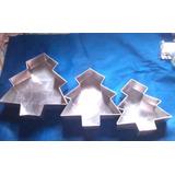 Juego De 3 Molde De Aluminio P/ Tortas Diseño Arbol Navidad