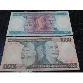 Cédula Nota Rara De 1000 E 200 Cruzeiros