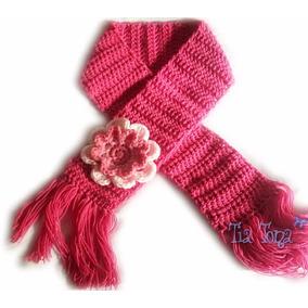A Pedido Bufanda Tejida Crochet Para Nenas Con Aplique Flor