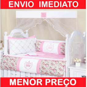 Kit Berço Americano Coroa Menina -8 Peças - Enxoval Feminino