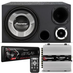 Caixa Trio Pioneer + Módulo Taramps + Mp3 Player Pioneer 108