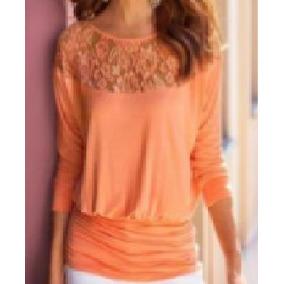 Remate Blusas Dama Naranja Neon Con Encaje Material Elástico