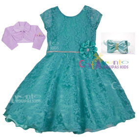 Vestido Infantil Ariel Pequena Sereia 4 Ao 12 Com Bolero