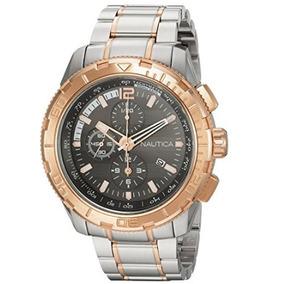 Relógio Masculino Nautica Nst 101 Ext Prata/dourado
