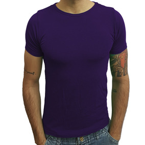 Camisa Básica Slim Gola Redonda Viscose Com Elastano