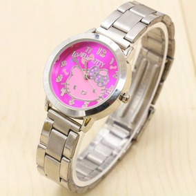Reloj Metalico Hello Kitty Cara Fiucsia