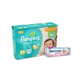 Kit Fraldas Pampers Confort Sec M - Mega + Creme Preventivo