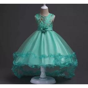 Vestido Infantil Festa Casamento Daminha Verde Claro Com Veu