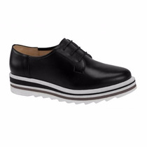 Zapatos Piel Con Platafaforma Tacón Corrido Oxford