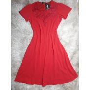 Vestido Vermelho Midi Evase Crepe Bordado Guipir Feminino