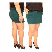 Shorts Saia Em Sarja Com Elastano Plus Size Do 44 Ao 58