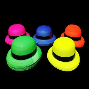 12 Sombreros Bombín Neon Liso P  Fiestas - Cotillón en Mercado Libre ... 4ecf66681e9