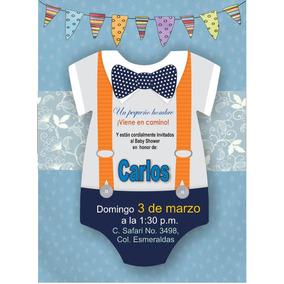 Invitación Editable Baby Shower Niño Diseño Mameluco