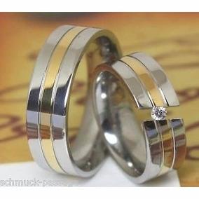 Argollas- Matrimonios- Acero--18 Kt -swarovski -