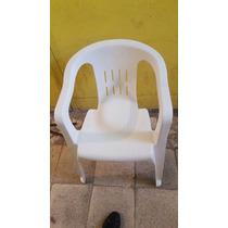 Silla De Plástico Reforzada Color Blanco Con Coderas