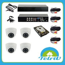Kit Dvr Seguridad Ahd 4 Canales 4 Camaras Hd 1 Mp Disco 1 Tb