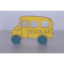 Brinquedo Educativo Carrinho Madeira Ônibus Escolar 36x23 Cm