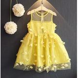 Vestido Amarelo Infantil Com Tule Bordado - Festa Bela Fera