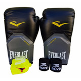 Kit Boxe Muay Thai Luva 12oz Bandagem Bucal Preto Everlast