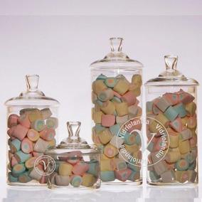 set tarros carameleras bomboneras vidrio ctapa candy bar