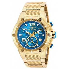 Invicta Speedway Chronograph Blue Dial Gold Ion-plated Mens
