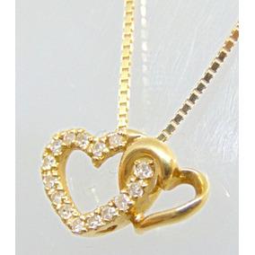 b26166c960bae Frete Grátis Pingente Ouro Branco 18k Coração Duplo Diamante - Joias ...