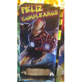 Lona Feliz Cumpleaños Iron Man 1 Metro X 1/2 Metro