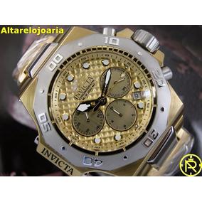 Relogio Invicta Akula Plaque Ouro Detalhes Dourado 23102