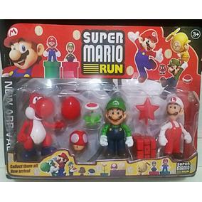 Kit Boneco Super Mario Run Luigi Yoshi Cagumelo + Acessorios