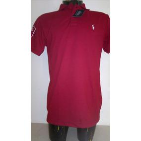 Camisa Playera Tipo Polo Ralph Lauren Color Vino Moda Casual