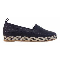 Natacha Zapato Mujer Alpargatas Cuero Reptil Negro #4221