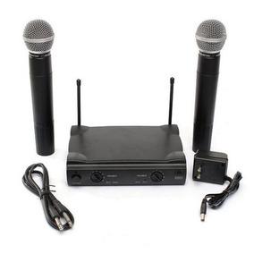 Microfone Duplo S/ Fio Uhf Wireless Profissional Le 906