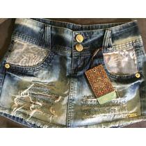 Short Saia Jeans República Com Detalhe De Onça