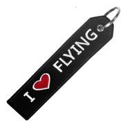 Llavero Aviación I Love Flying Bordado
