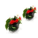 2x Arranjo De Flores Artificial Vermelha - Vaso De Vidro - P