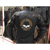 Jaqueta Harley Davidson Skull Couro Legítimo Harley Davidson