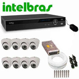 Kit Cftv Dvr 8 Ch Intelbras 6 Câm. 3,6mm 25m Infra 1200l