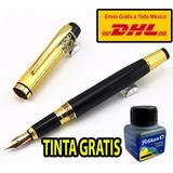 Pluma Fuente Golden Elegans + Tinta Y Envio Gratis