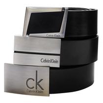 Cinto Couro Masculino Calvin Klein Ck Social Aço Escovado