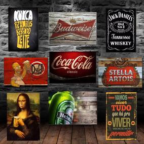 10 Placas Decorativas Mdf Retrô Vintage Cervejas Bebidas Bar