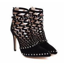 Sapato Feminino Camurça De Luxo C/ Rebite Salto 12cm Festa