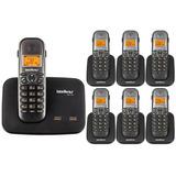 Kit Telefone S/ Fio P/ 2 Linhas Ts 5150 + 6 Ramal Intelbras
