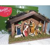 Presépio De Natal Em Resina E Madeira 9 Pçs