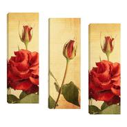 Trio De Quadros Tela Floral Vermelho 20x60cm Rosas E Tulipa