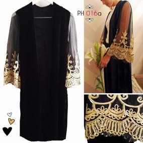 Saco Kimono Negro Terciopelo Y Tul Bordado, Codigo Ph016a