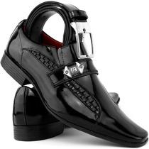 Sapato Social Masculino Envernizado Brilhoso Em Couro+cinto