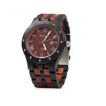 Reloj Bewell Para Caballero De Madera Bicolor Ebano / Rojo