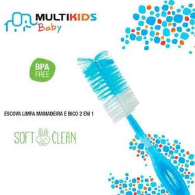 10 Escova Limpa Mamadeira E Bicos 2 Em 1 Azul Multikids Baby